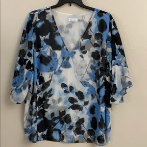 Blue and black Calvin Klein blouse